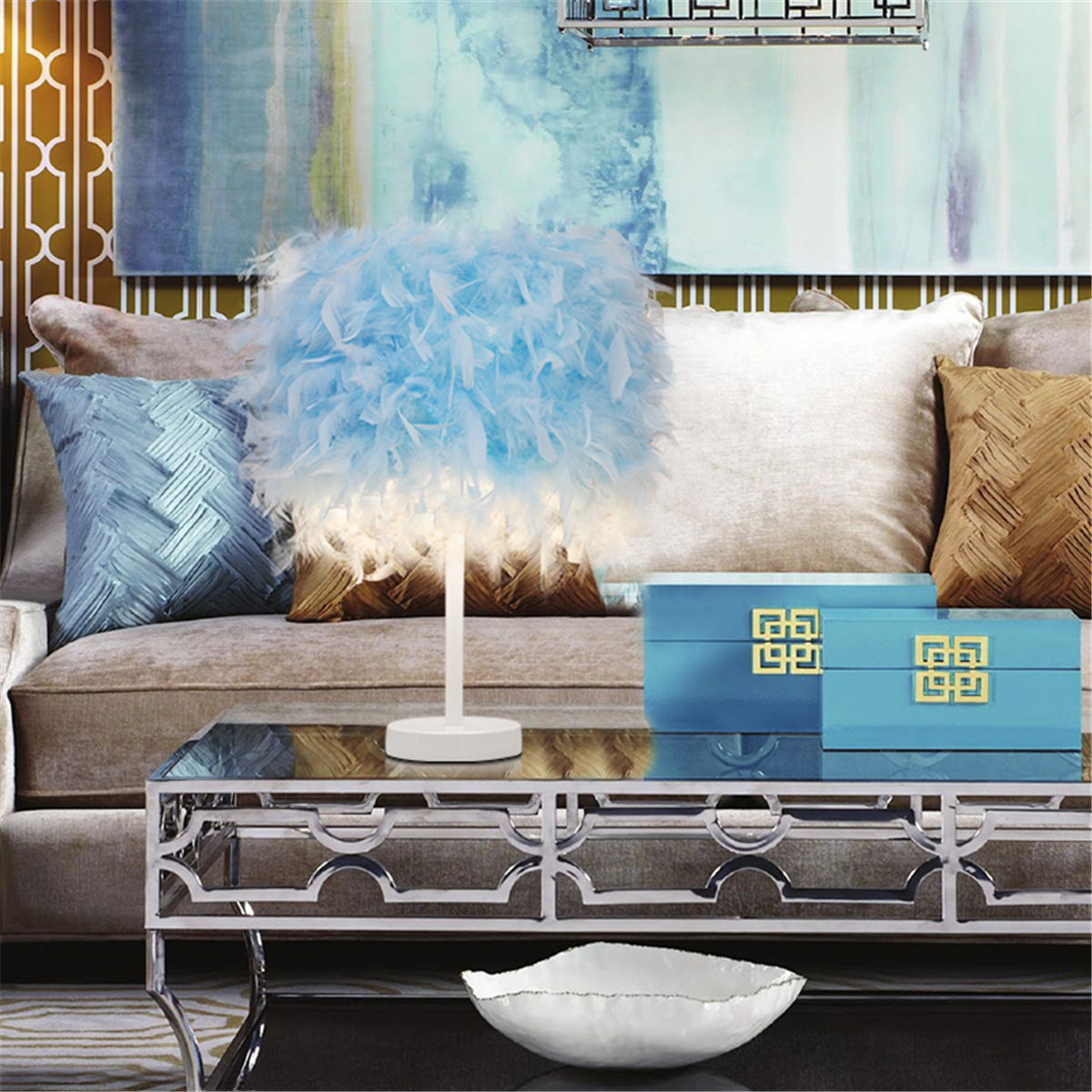 Meigar Feather Lamp Table Desk Night Light Desktop Bedroom Home Decor Gift