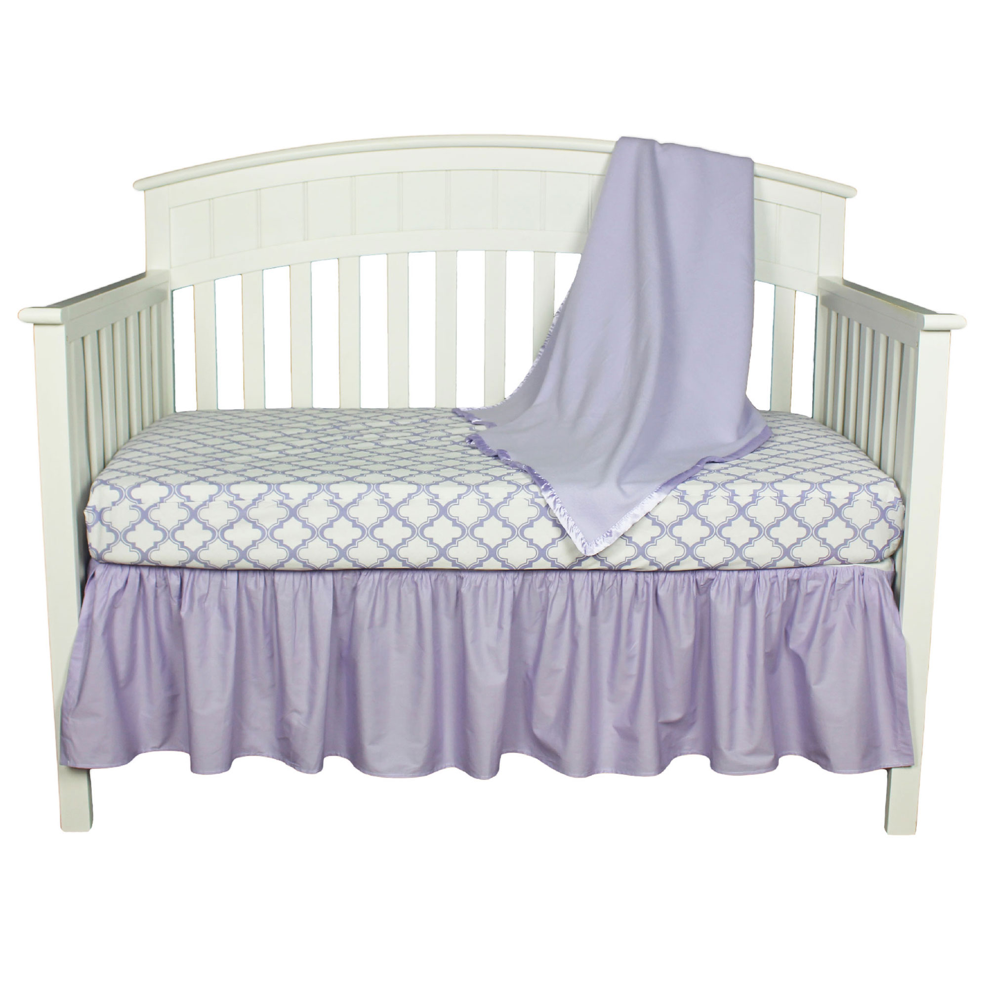 American Baby Company Crib Bedding Set - Lavender Moroccan Ogee - 3 Piece Baby Crib Bedding Set with Fleece Blanket