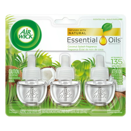 Three Wick Glass - Air Wick Scented Oil 3 Refills, Coconut Splash, (3X0.67oz), Air Freshener