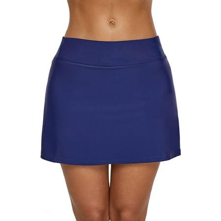 Women High Waist Swim Skirt with Boy Shorts Briefs Bikini Bottom Swimming Skirt Tankini Skirt Swimsuit Sexy Swimwear Swimming Bathing Suit Beach Grey Swim Skirt S (Grey Bikini Bottoms)