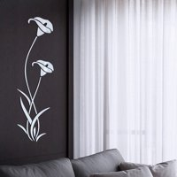 OHSAY USA Decorative 3D Flowers Removable Acrylic Mirror Wall Decals Wall Sticker Creative Art Decorations for Kids Teens Boys Girls Women Room Living Room Kitchen Bathroom Home Hotel Office