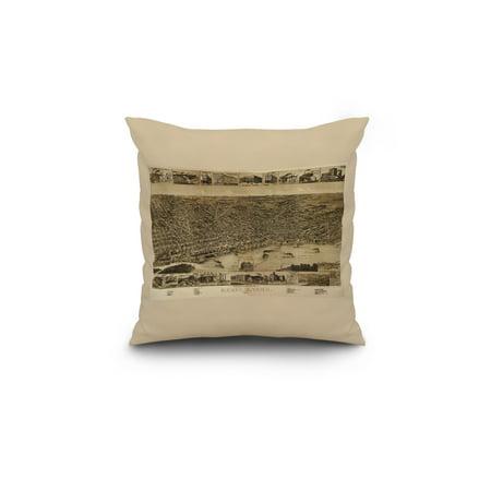 Memphis, Tennessee - (1887) - Panoramic Map (18x18 Spun Polyester Pillow,  Custom Border)