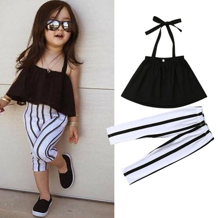 e701d8f843581 Toddler Kids Baby Girls Clothes Strap Tops+Striped Long Pants Summer  Outfits Set