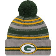Green Bay Packers New Era 2021 NFL Sideline Sport Pom Cuffed Knit Hat - Gray - OSFA