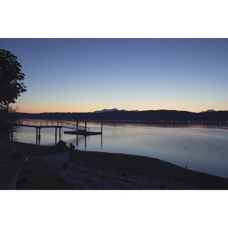 Sunset Dock - LAMINATED POSTER Lake Dusk Dock Sunset Water Poster Print 11 x 17