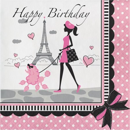 Party Creations Party in Paris Happy Birthday Lunch Napkins, 18 Ct - Paris Birthday Supplies