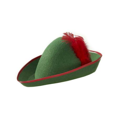 Mens Green Red Robin Hood Peter Pan Elf Costume Hat - Peter Pan Mens Costume
