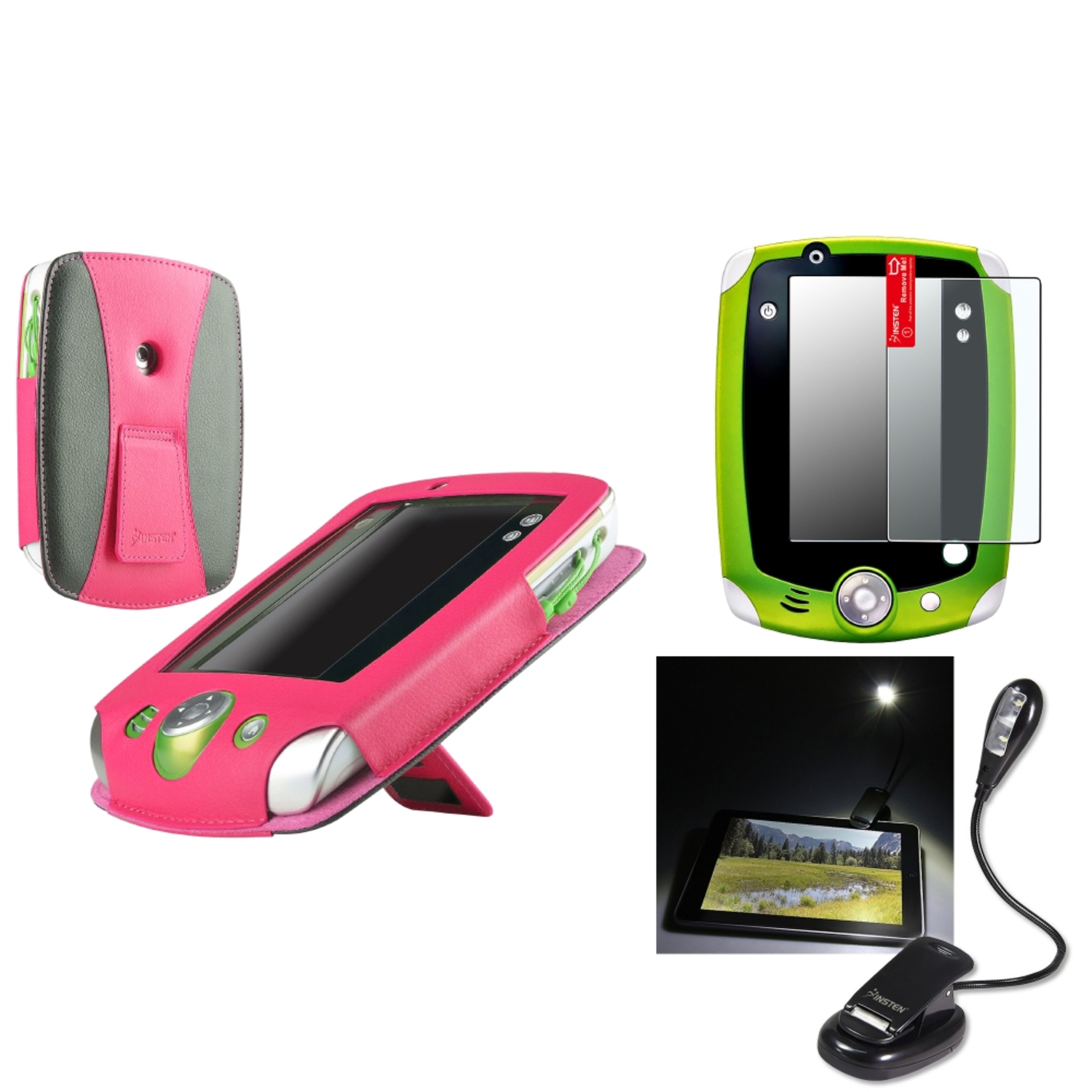 Insten Pink w/ Stand Case+3x Matte Protector+Light LED For LeapFrog Leappad 2
