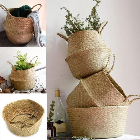 Large Natural and Woven Seagrass Tote Belly Basket for Storage, Laundry, Picnic, Plant Pot Cover, and Beach Bag