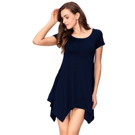 - One Sight Tunic Tops Loose Fit round collar T-Shirt Dress for Women, Short Sleeve & Swing Pocket Three Colors Options
