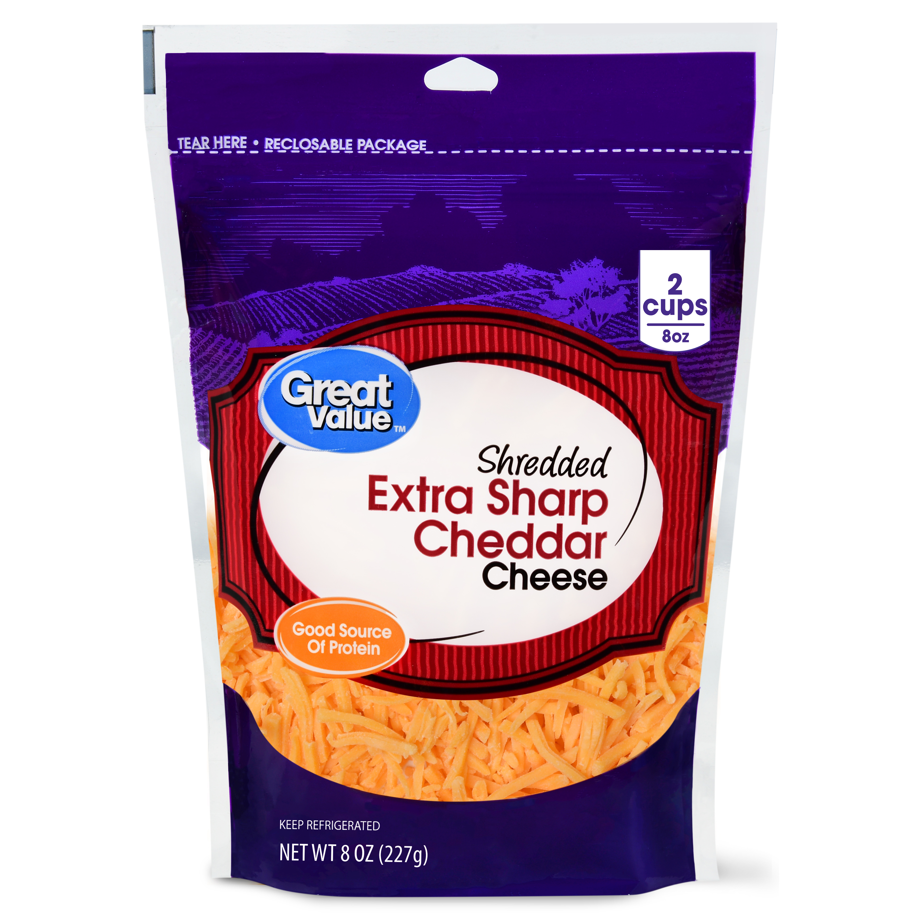 Great Value Shredded Cheddar Cheese, Extra Sharp, 8 oz