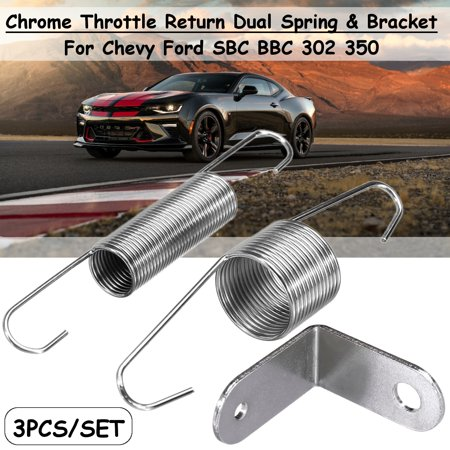 3Pcs/Set Chrome Plated Throttle Door Return Spring Bracket Dual Springs For Chevy Ford