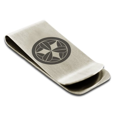 Stainless Steel Takenaka Samurai Crest Engraved Money Clip Credit Card