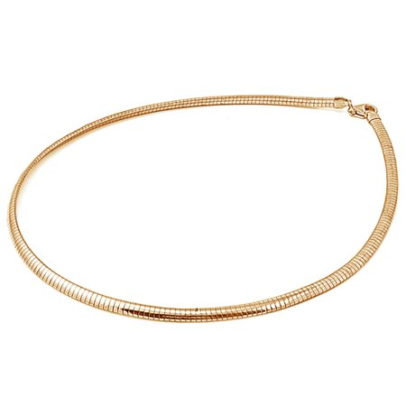 Sterling Silver Gold-Tone Reversible Omega Snake Chain 4mm Solid 925 Italy New Necklace covid 19 (Gold Tone Snake Necklace coronavirus)