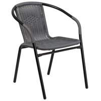 Bowery Hill Rattan Stacking Patio Chair in Black and Gray