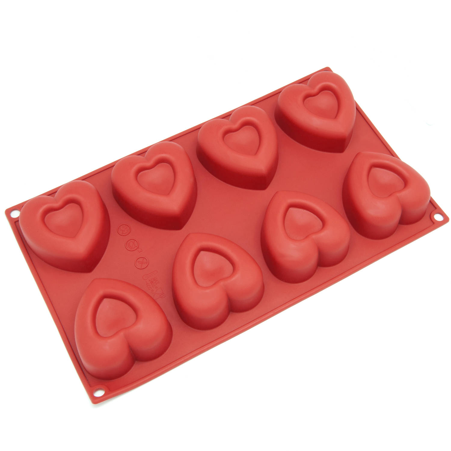 Freshware 8-Cavity Valentine Heart Silicone Mold for Muffin, Soap, Cupcake, Chocolate, Pudding and Jello, SL-110RD