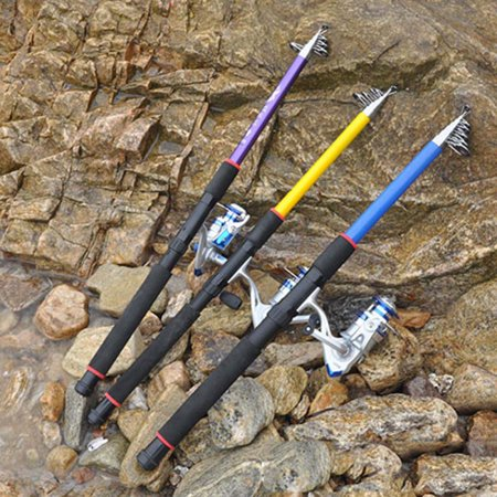 Fishing Rod Reel Combos Carbon Fiber Telescopic Fishing Pole with Spinning Reel for Travel Saltwater Freshwater Fishing Random Color