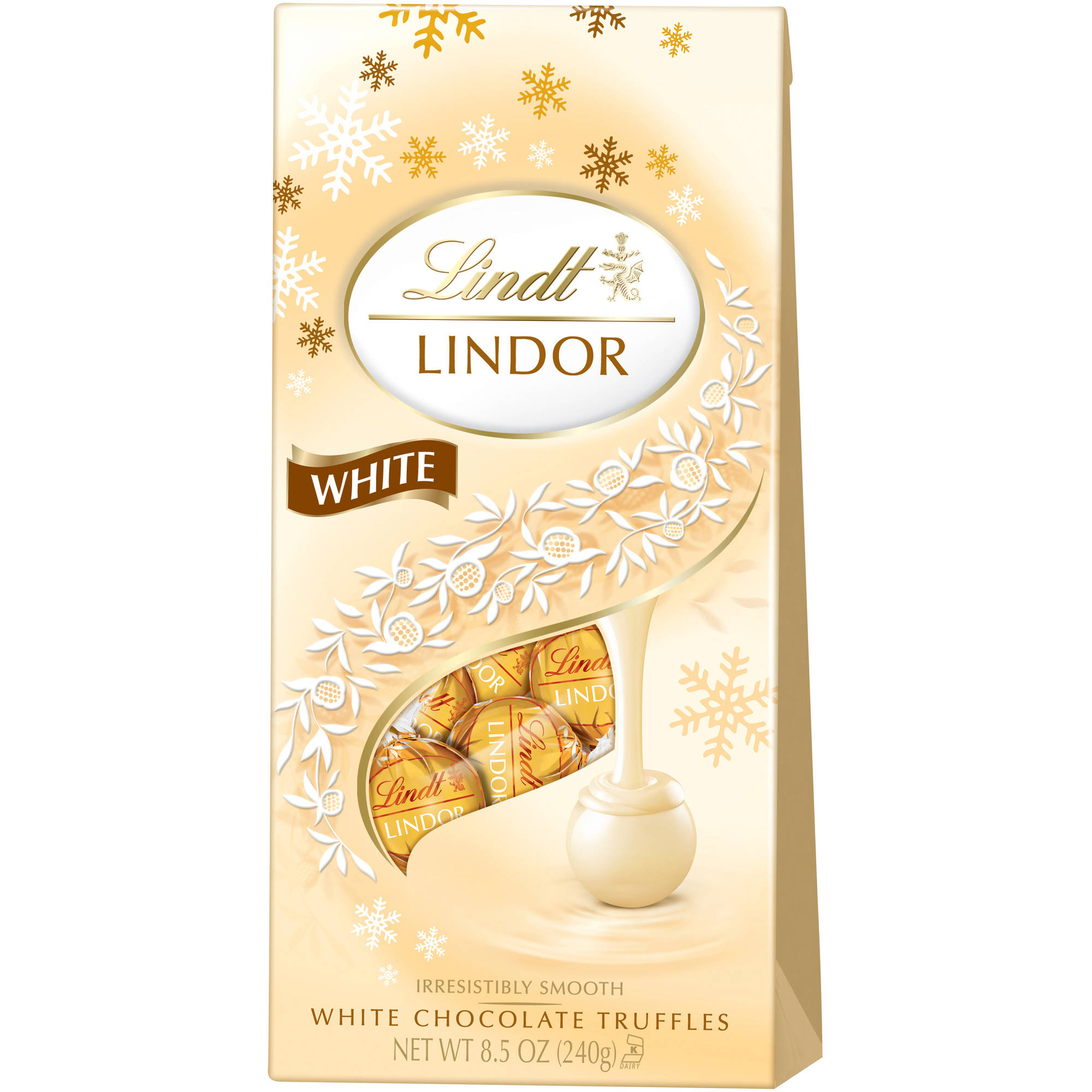 Lindt Lindor White Chocolate Truffles Holiday Gift, 8.5 oz