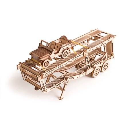 Wood Trick 3D Mechanical Model Car Trailer Wooden Puzzle, Assembly Constructor, Brain Teaser, Best DIY Toy, IQ Game for Teens and