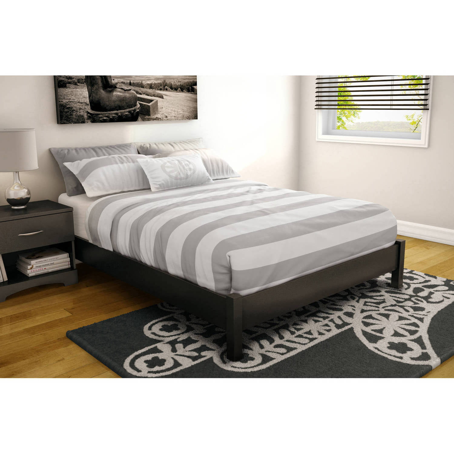 Premier Pia Metal Platform Bed Frame Queen with Bonus Base Wooden