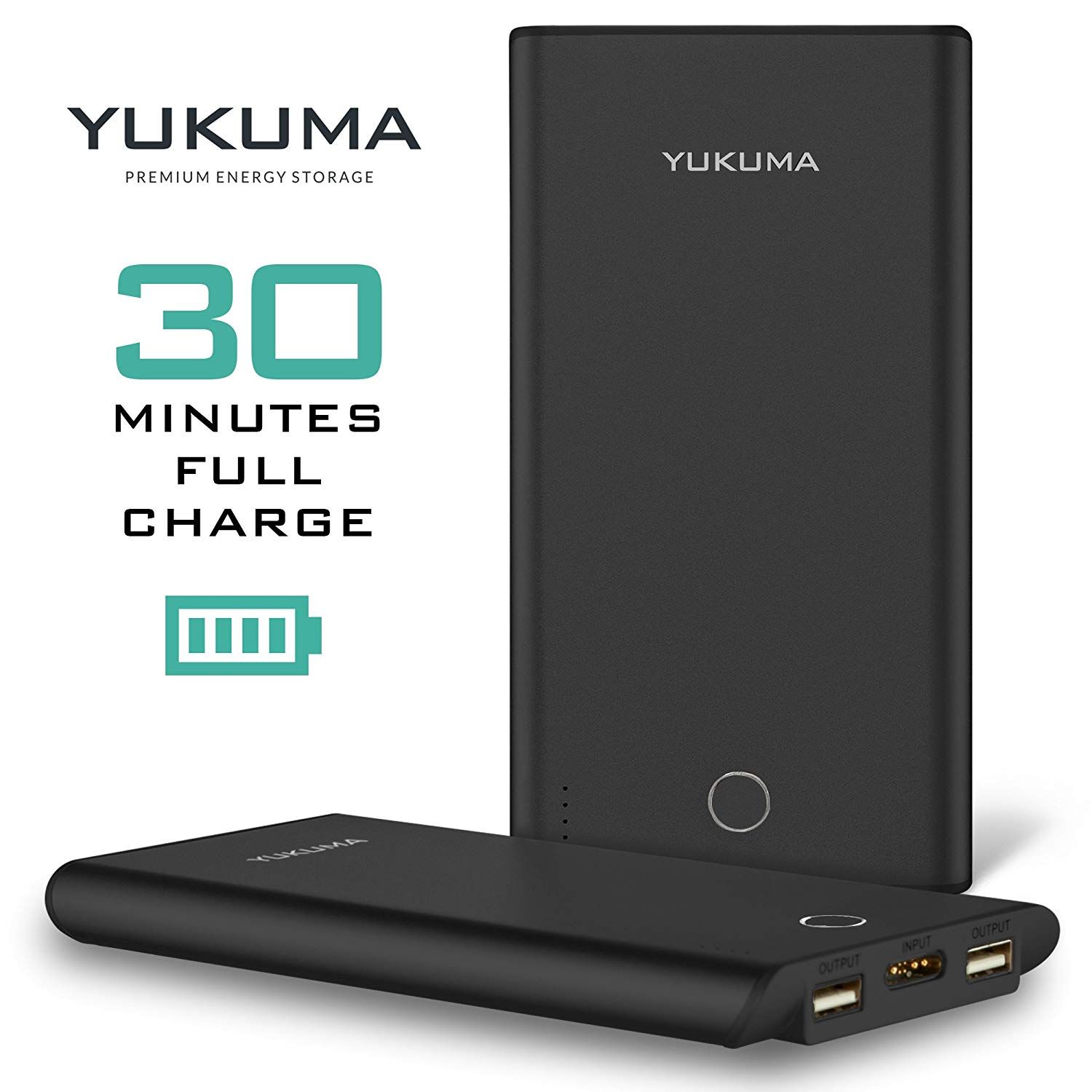 Yukuma Power Bank - Patented Technology Full Recharge in 30 Minutes - 10000 mAH - Portable Charger External Batteries For Phones, Tablets, Cameras [German Engineered] (FCC, CE Certified)