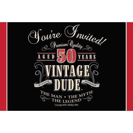 Access Vintage Dude 50th Birthday Invitation Card, 8 Ct