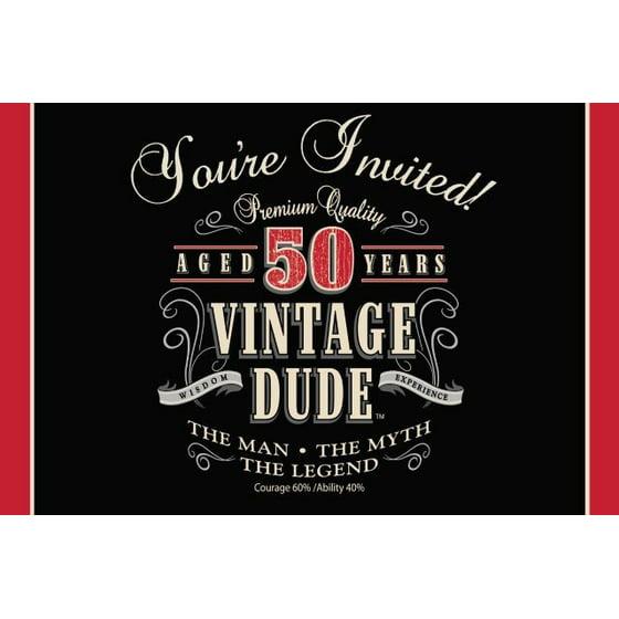 Access Vintage Dude 50th Birthday Invitation Card, 8 Ct