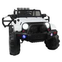 Ktaxon White 12V Ride On Car Truck W/ Remote Control, 3 Speeds, Spring Suspension, LED Lights