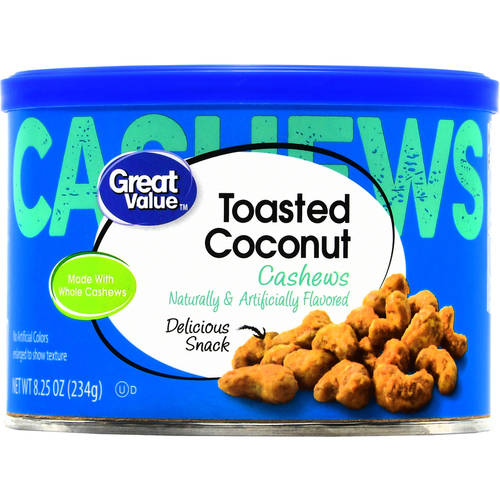 (3 Pack) Great Value Toasted Coconut Cashews, 8.25 oz