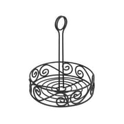 Spectrum Diversified Scroll Condiment Stand, Steel Condiment Caddy for Restaurants & Homes, Coffee Station Office Décor, Rust-Resistant Seasoning & Sauce Holder, Black