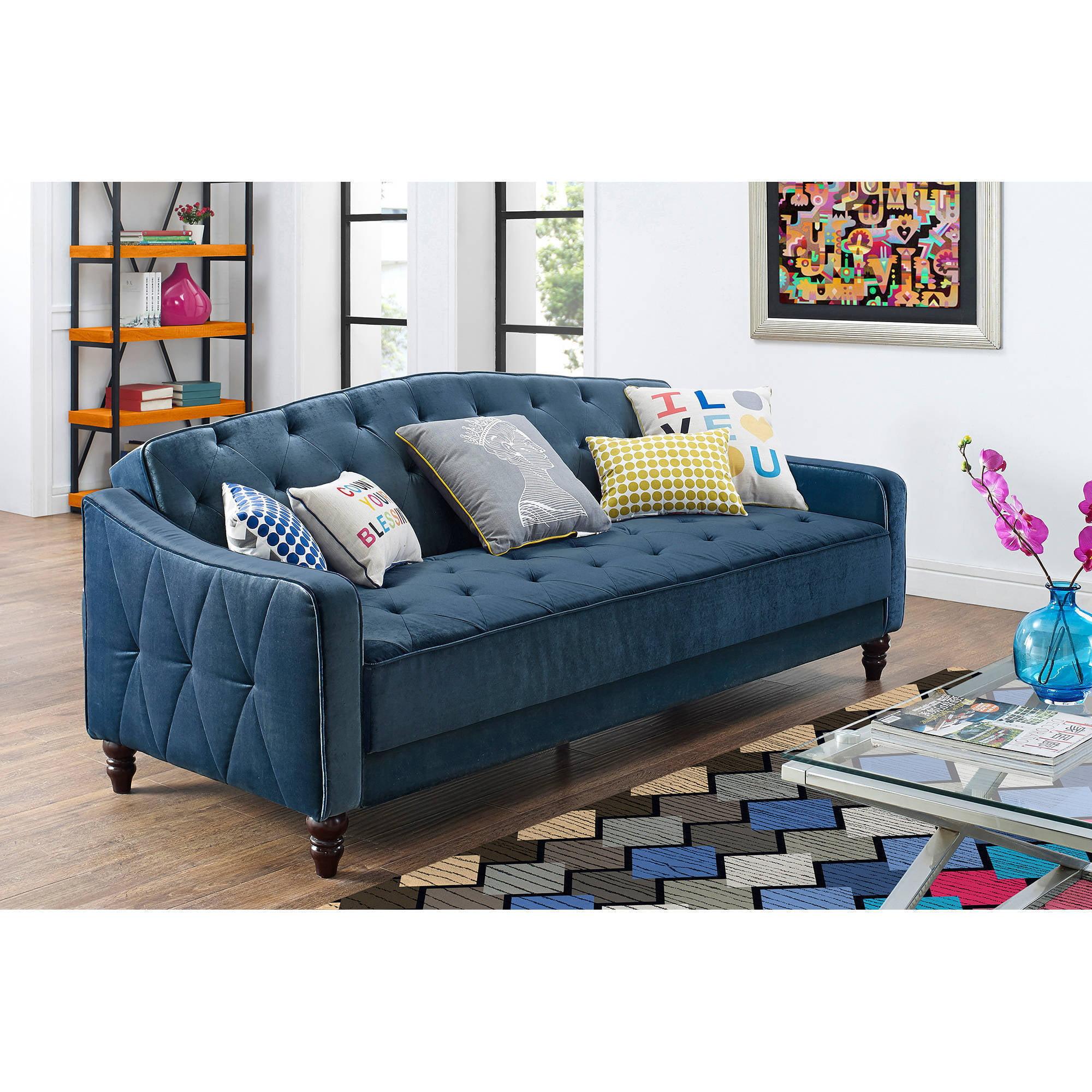 novogratz vintage tufted sofa sleeper ii blue