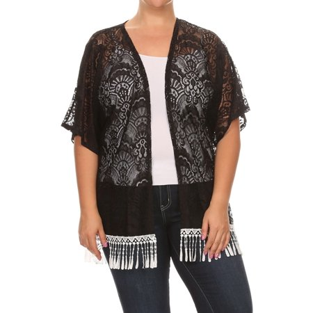 Women's PLUS trendy style , short sleeves LACE cardigan.