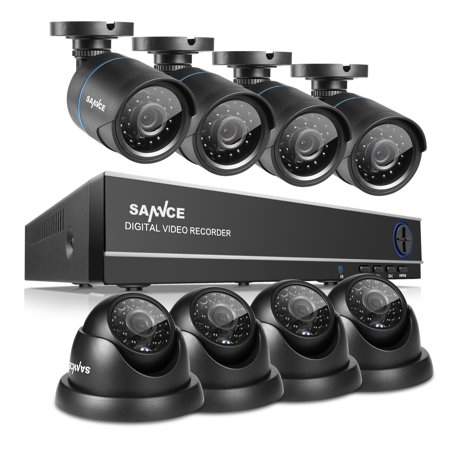 SANNCE 8CH 960H HD DVR 8pcs 720P IR outdoor CCTV Home Security System Bullet/Dome Cameras Surveillance Video Kits with Motion Detection with NO Hard Drive