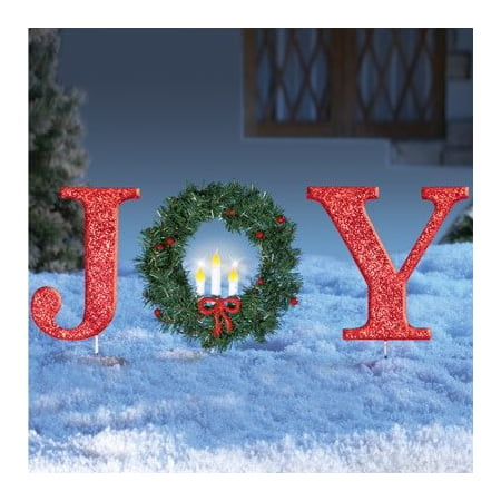 glittered red christmas stake lighted christmas outdoor yard decoration joy or peace joy - Joy Outdoor Christmas Decoration