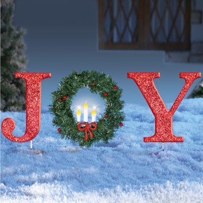 glittered red christmas stake lighted christmas outdoor yard decoration joy or peace joy - Lighted Christmas Yard Decorations
