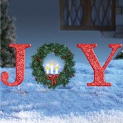 glittered red christmas stake lighted christmas outdoor yard decoration joy or peace joy - Christmas Yard Decorations