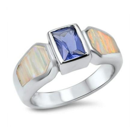 925 Sterling Silver Lab opal Gem Ring Bi Color Tourmaline Gem