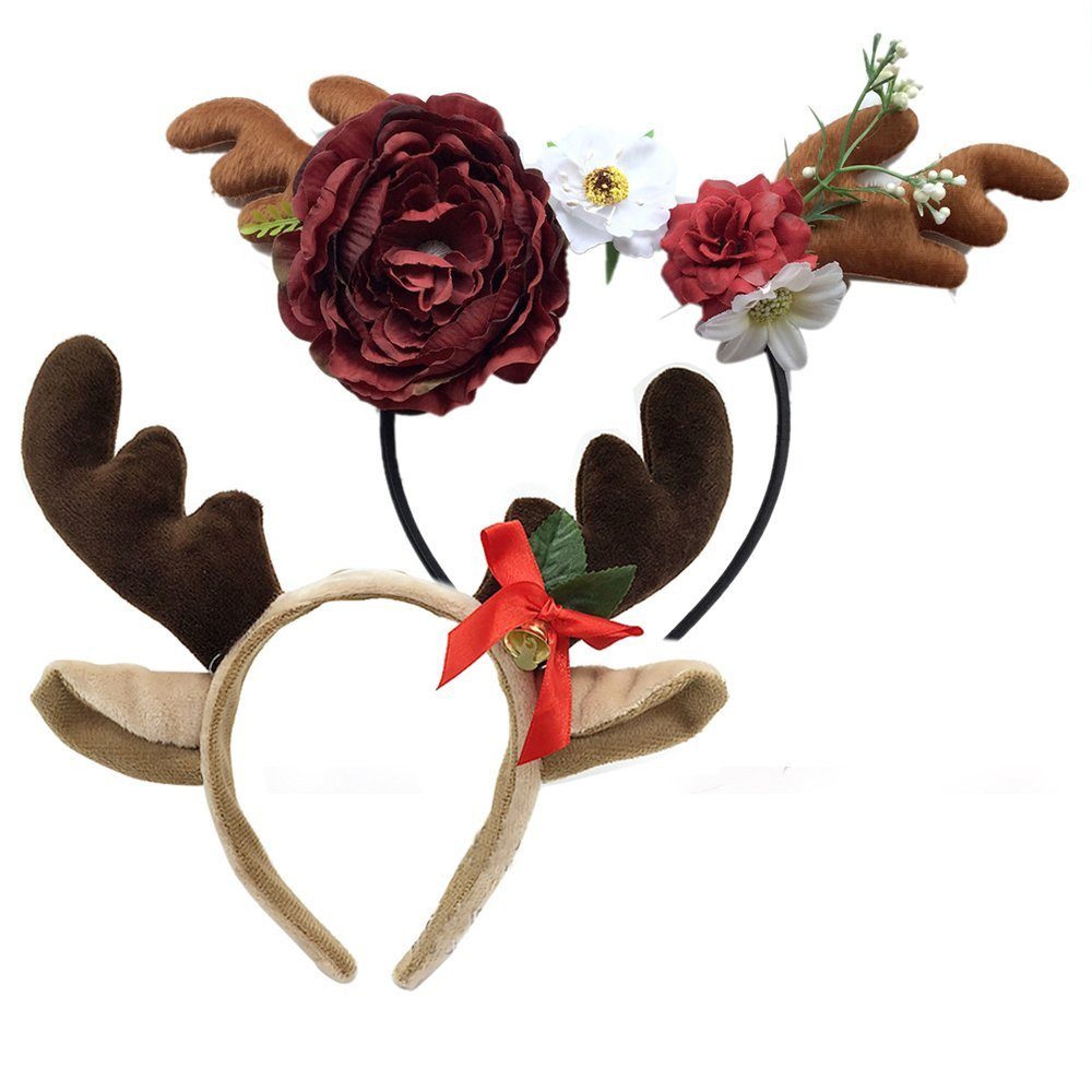 [2 Pack] Christmas Stag Girl Headband and Easter Party Headband (#2)