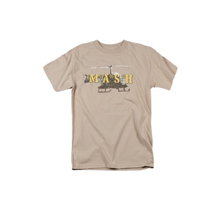 MASH 1970's War Comedy TV Series Distressed Helicopter Logo Adult T-Shirt - Men's 1970's Clothing