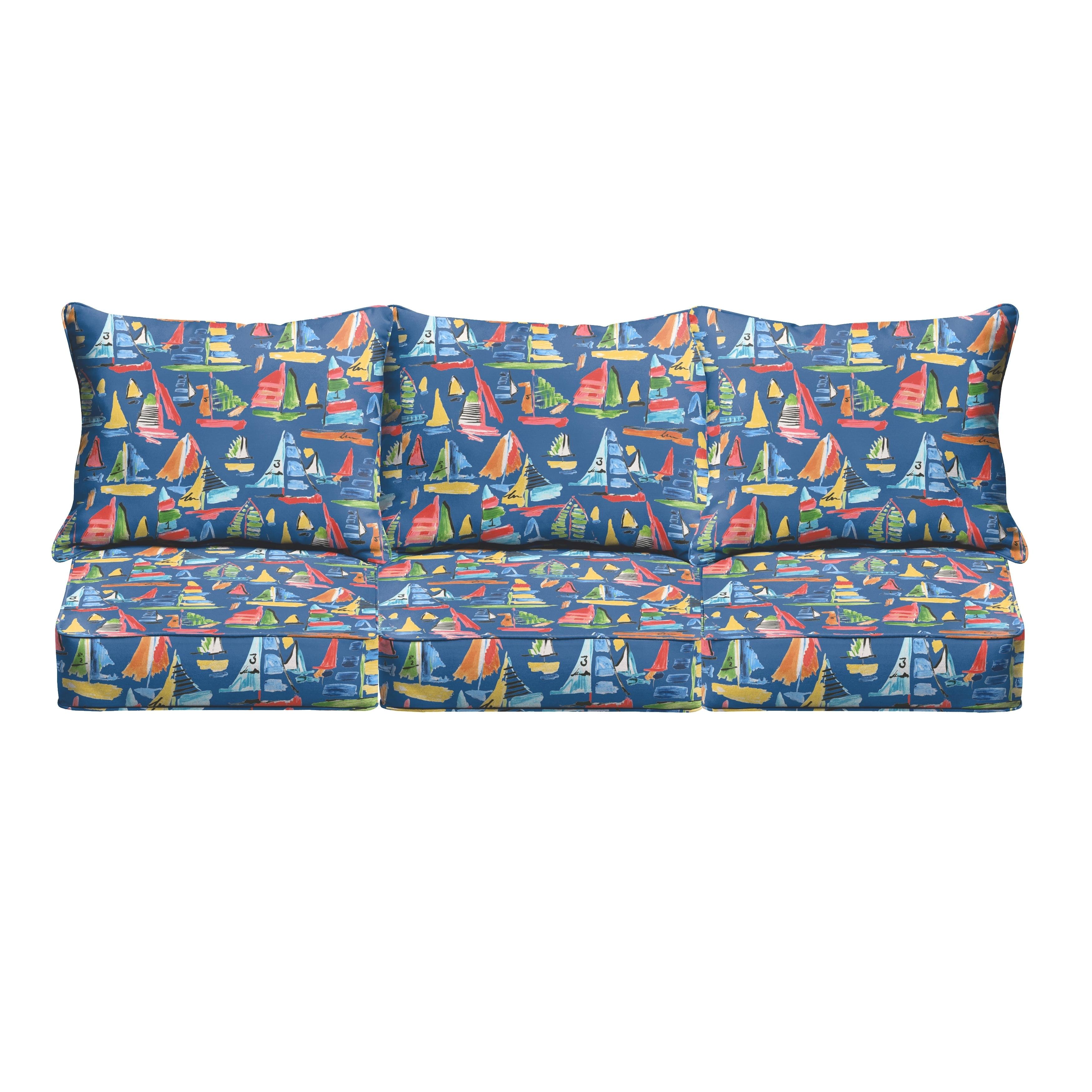 Humble and Haute Blue Sailboats Indoor/ Outdoor Corded Sofa Cushion Set