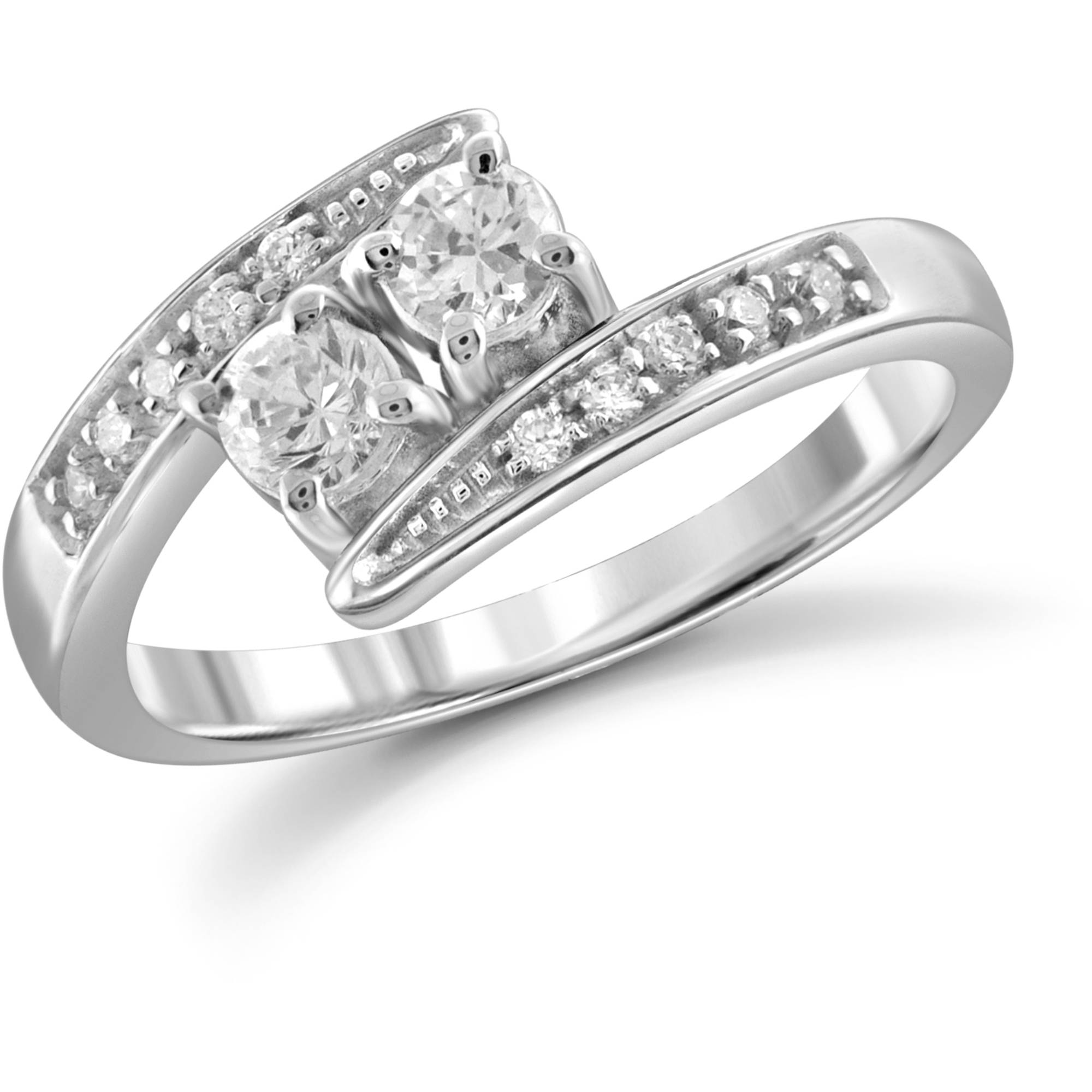 JewelersClub 1/2 Carat TW White Diamond 14Kt White Gold Two-Stone Engagement Ring