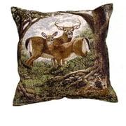 "Hidden Eyes Deer Family Tapestry Throw Pillow 17"""