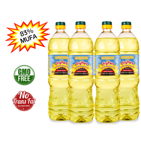 Sunflower Oil China - SUNVELLA FryPure Pressed-Refined Non-GMO High Oleic Sunflower Oil 33.8 FL OZ (Pack of 4)