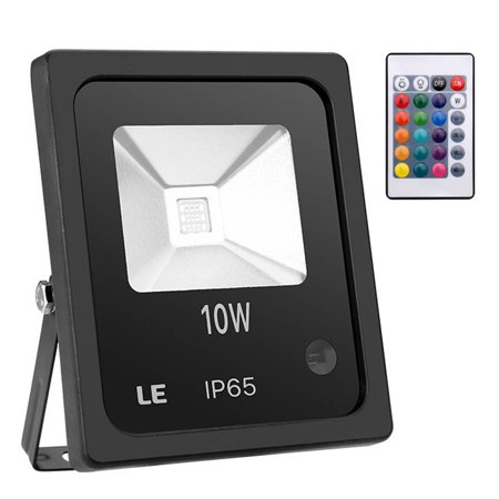 Lighting EVER 10W RGB LED Flood Lights, Color Changing LED Security Light with Remote Control, 16 Colors & 4 Modes, Waterproof, Wall Washer