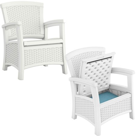 Suncast Elements Resin Wicker Design Club Chair with Storage, White (2 Pack) ()