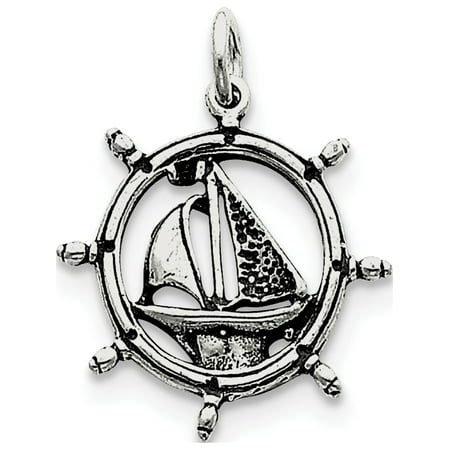Leslies Fine Jewelry Designer 925 Sterling Silver Antiqued Sailboat in Wheel (23x24mm) Pendant Gift