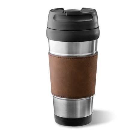 Personalized Faux Leather Wrapped Stainless Steel Tumbler
