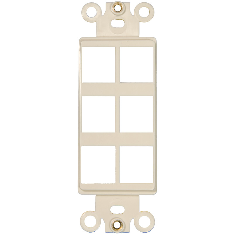 Morris Products Six Port Decorator Wall Plate in Light Almond (Set of 4)