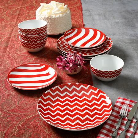 Mainstays Pepperlane Red and White 12-Piece Dinnerware Set