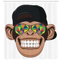 Cartoon Decor Shower Curtain Set, Fun Hipster Monkey With Colorful Sunglasses And Hat Rapper Hippie Ape Art Graphic, Bathroom Accessories, 69W X 70L Inches, By Ambesonne